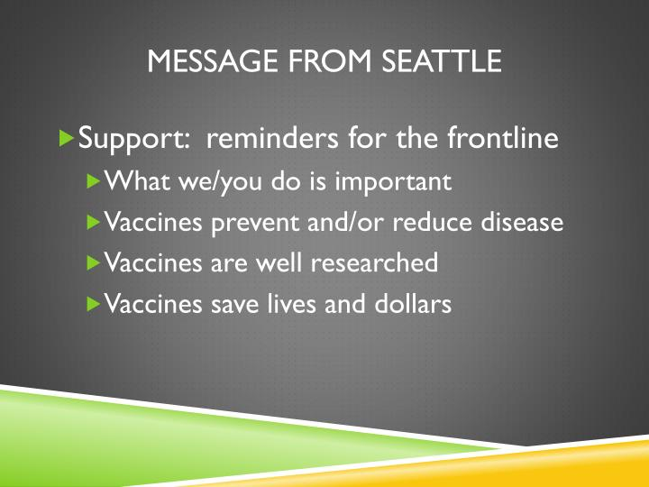 Message from Seattle