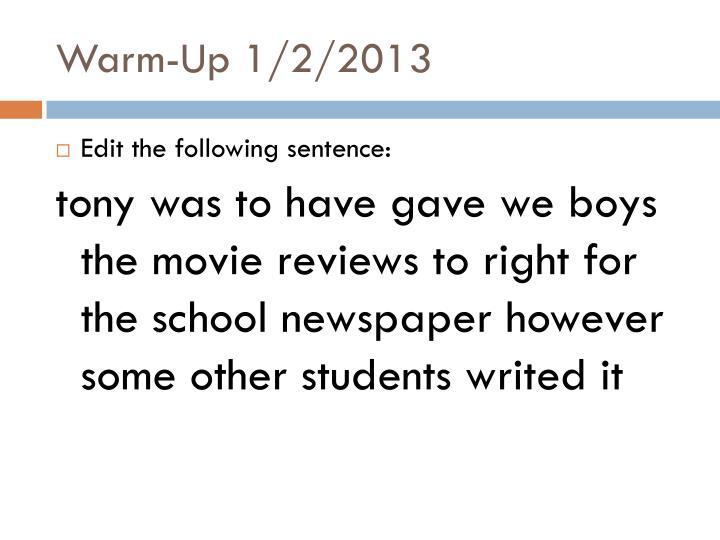 Warm-Up 1/2/2013