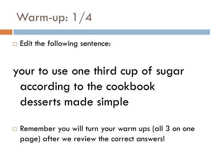 Warm-up: 1/4