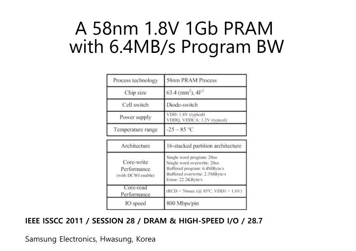 A 58nm 1.8V 1Gb PRAM