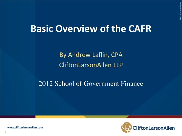 Basic overview of the cafr