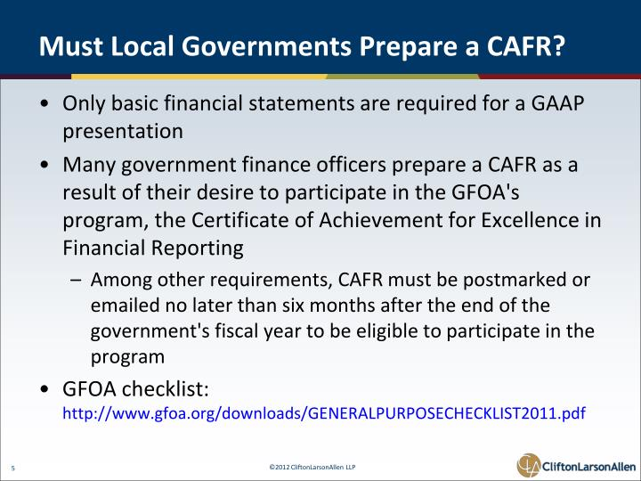 Must Local Governments Prepare a CAFR?