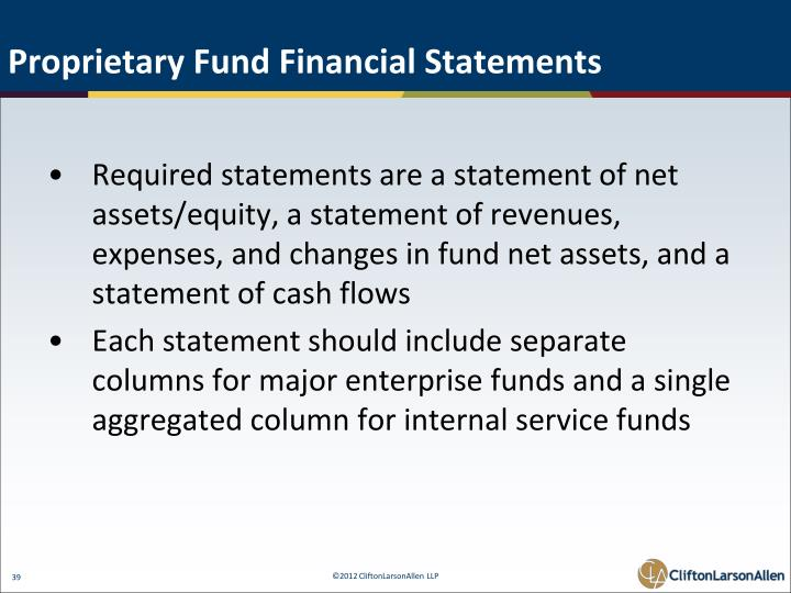 Proprietary Fund Financial Statements