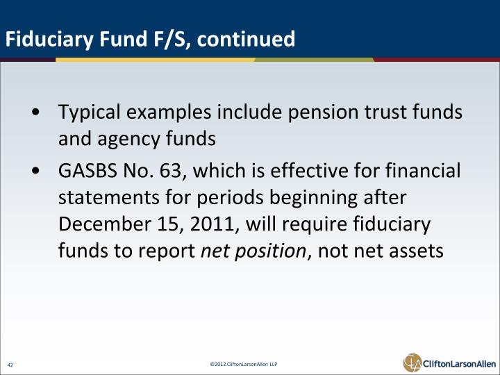 Fiduciary Fund F/S, continued
