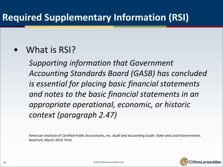 Required Supplementary Information (RSI)