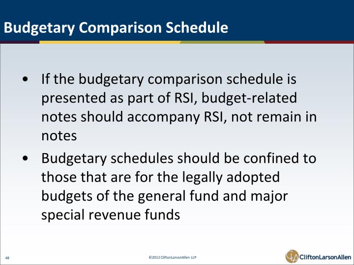 Budgetary Comparison Schedule