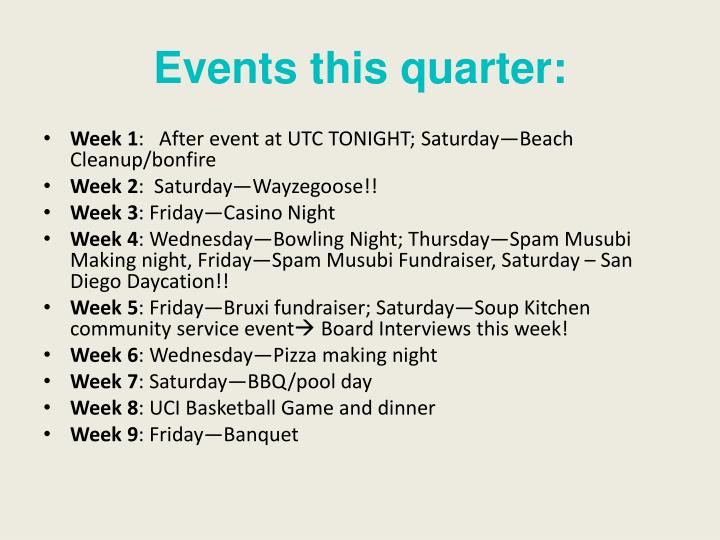 Events this quarter: