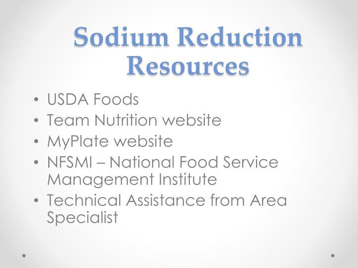 Sodium Reduction Resources