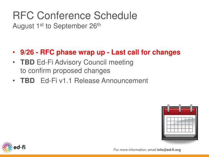 RFC Conference Schedule