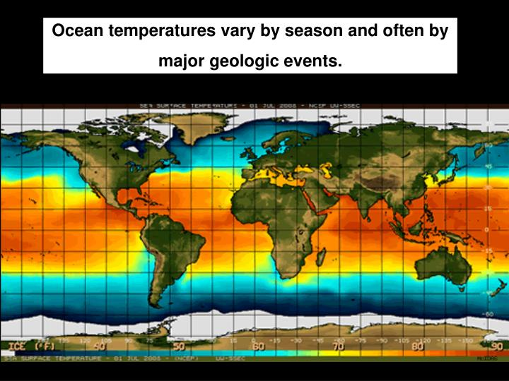 Ocean temperatures vary by season and often by