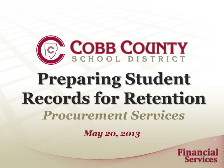 Preparing Student Records for Retention