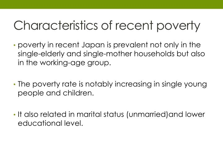 Characteristics of recent poverty