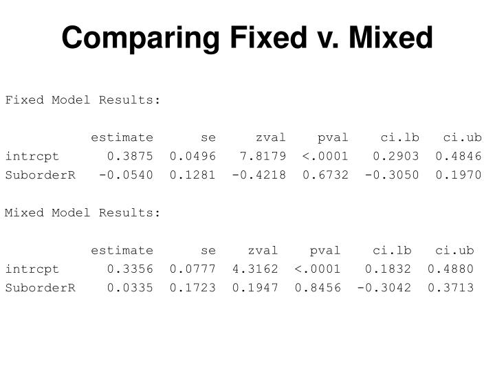 Comparing Fixed