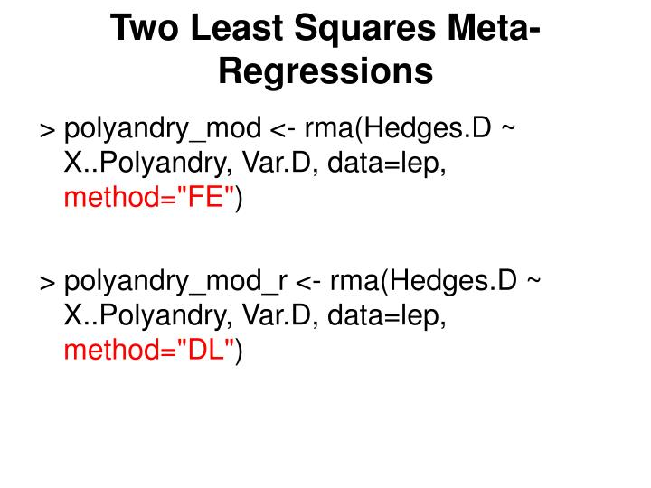 Two Least Squares Meta-Regressions