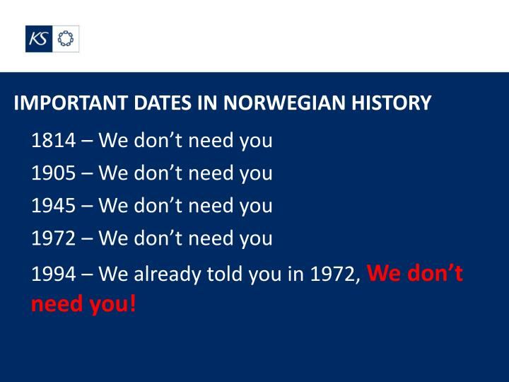 IMPORTANT DATES IN NORWEGIAN HISTORY