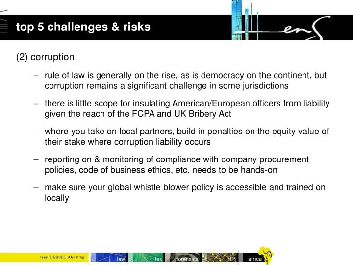 top 5 challenges & risks