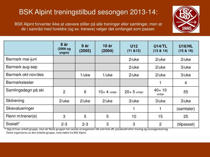BSK Alpint treningstilbud sesongen 2013-14: