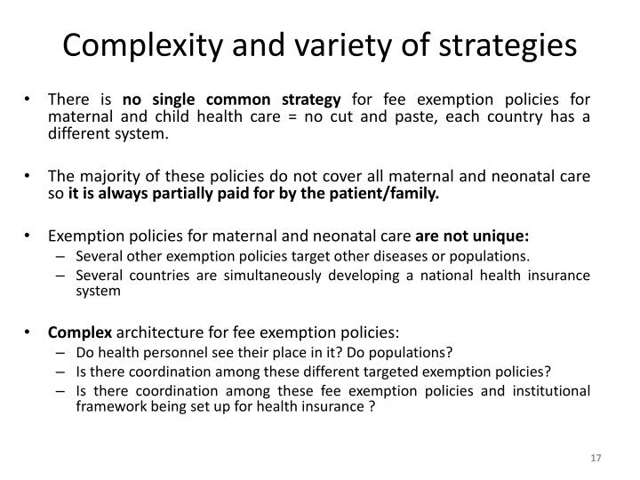 Complexity and variety of strategies