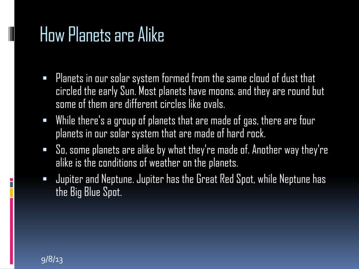 How Planets are Alike