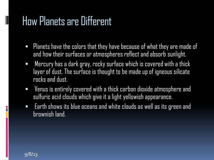 How Planets are Different