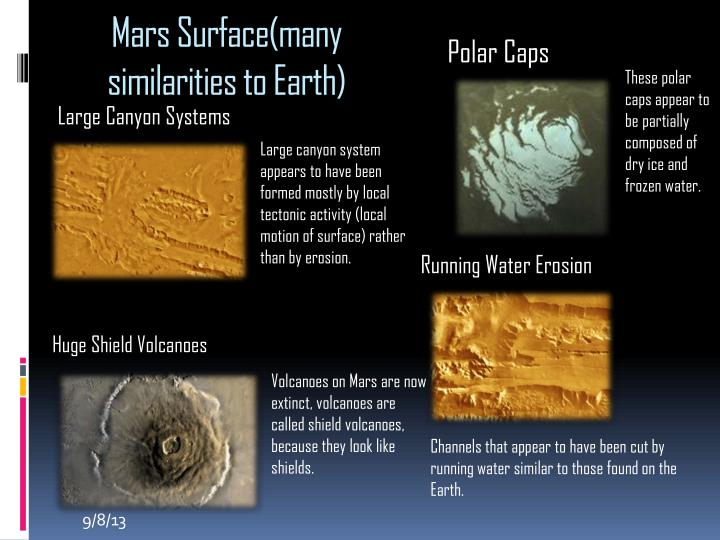 Mars Surface(many similarities to Earth)