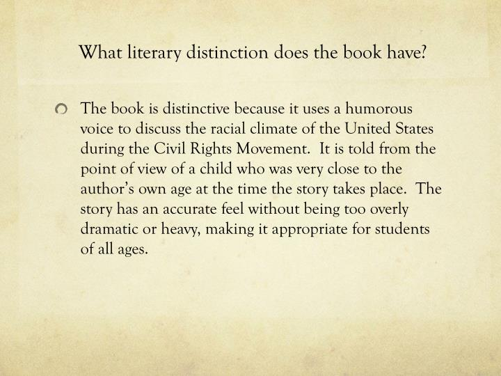 What literary distinction does the book have?