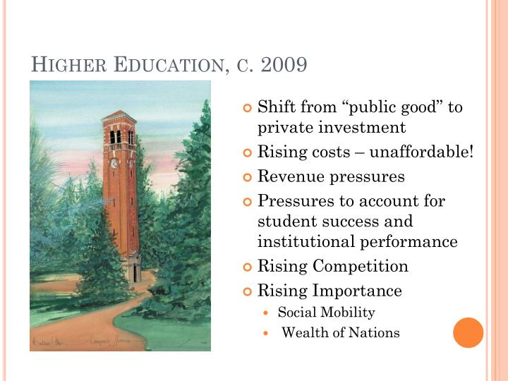 Higher Education, c. 2009