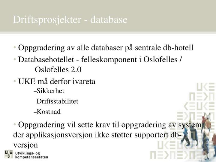 Driftsprosjekter - database