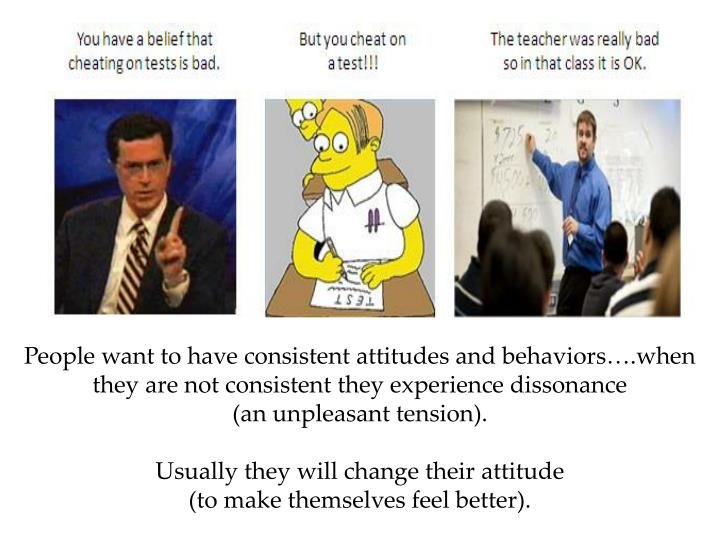People want to have consistent attitudes and behaviors….when they are not consistent they experience dissonance