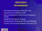 2012 2013 assumptions