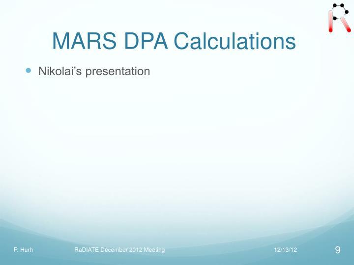 MARS DPA Calculations
