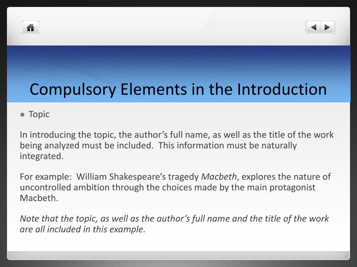 Compulsory Elements in the Introduction