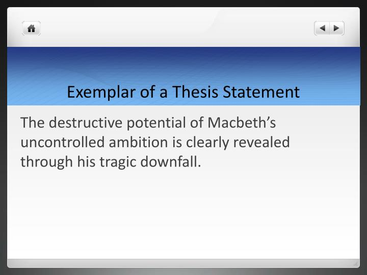 Exemplar of a Thesis Statement