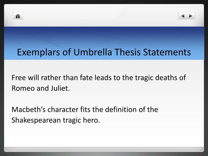 Exemplars of Umbrella Thesis Statements