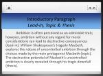 introductory paragraph lead in topic thesis