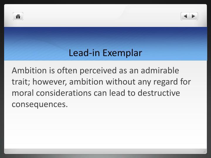 Lead-in Exemplar