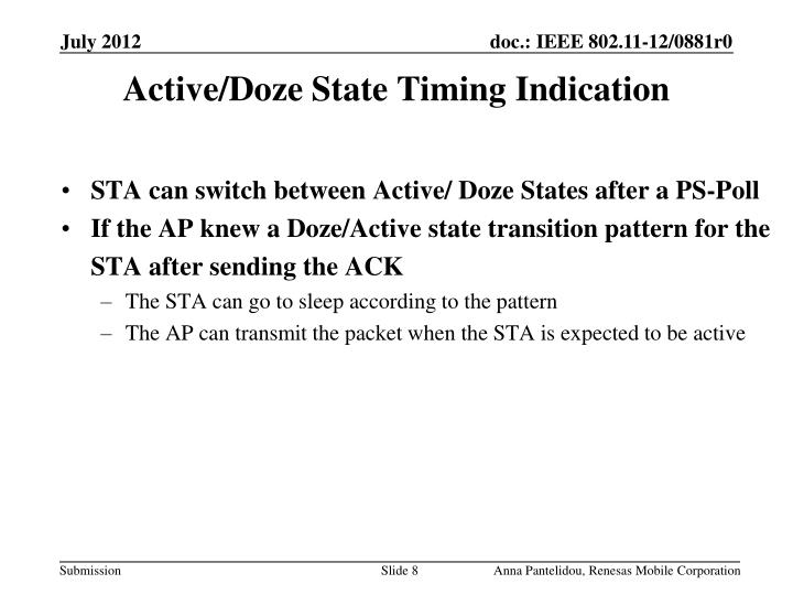 Active/Doze State Timing