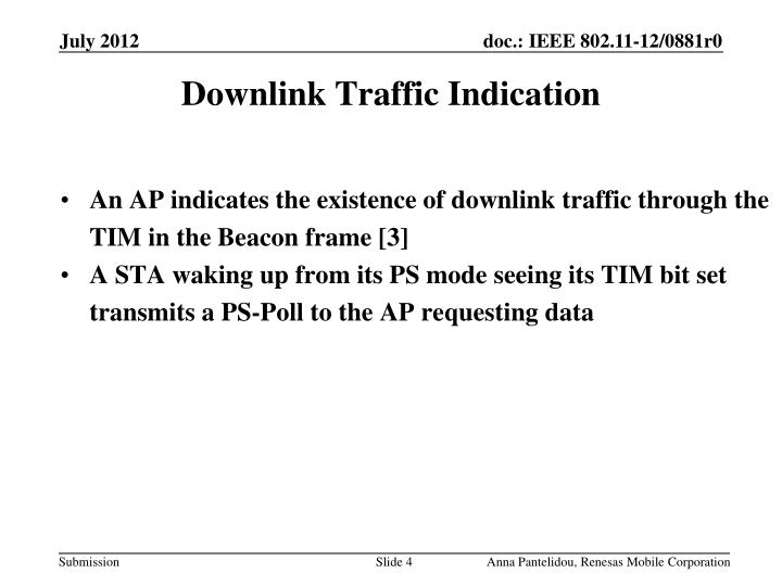 Downlink Traffic Indication