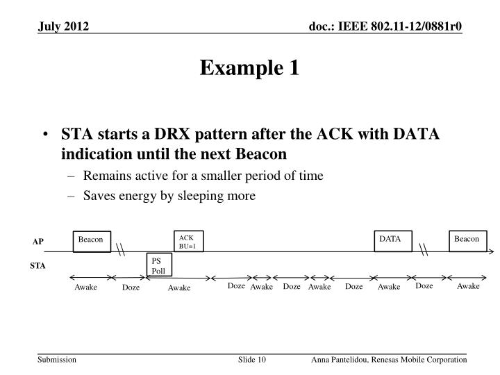 STA starts a DRX pattern after the ACK with DATA indication until the next Beacon