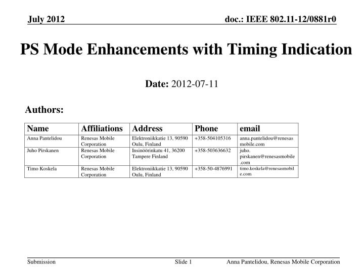 Ps mode enhancements with timing indication