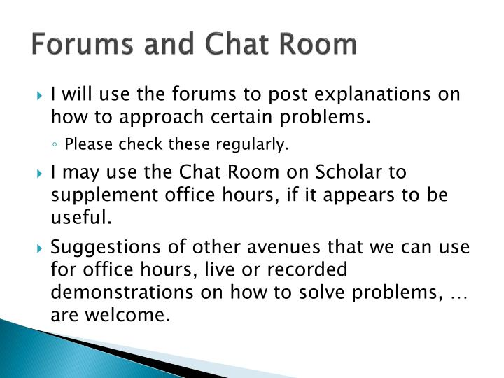 Forums and Chat Room