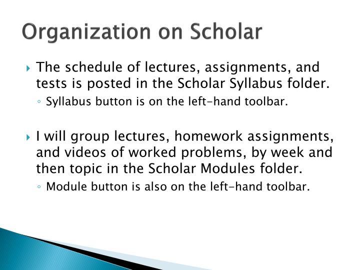 Organization on Scholar