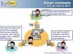 email contents to cc and or bcc