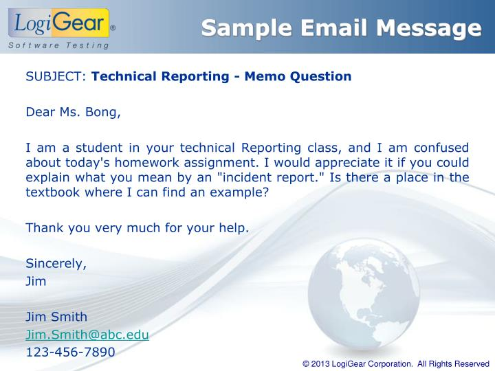 Sample Email Message