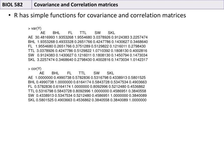 R has simple functions for covariance and correlation matrices