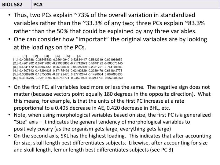 Thus, two PCs explain ~73% of the overall variation in standardized variables rather than the ~33.3% of any two; three PCs explain ~83.3% rather than the 50% that could be explained by any three variables.