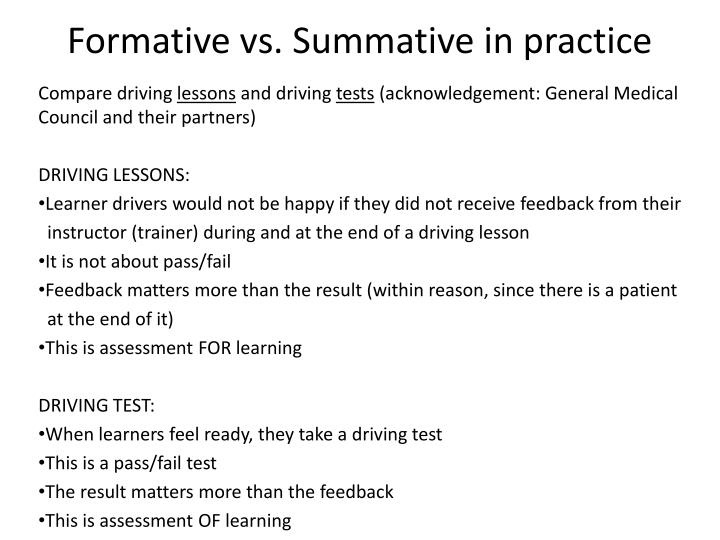 Formative vs. Summative in practice
