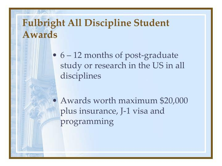 Fulbright All Discipline Student Awards