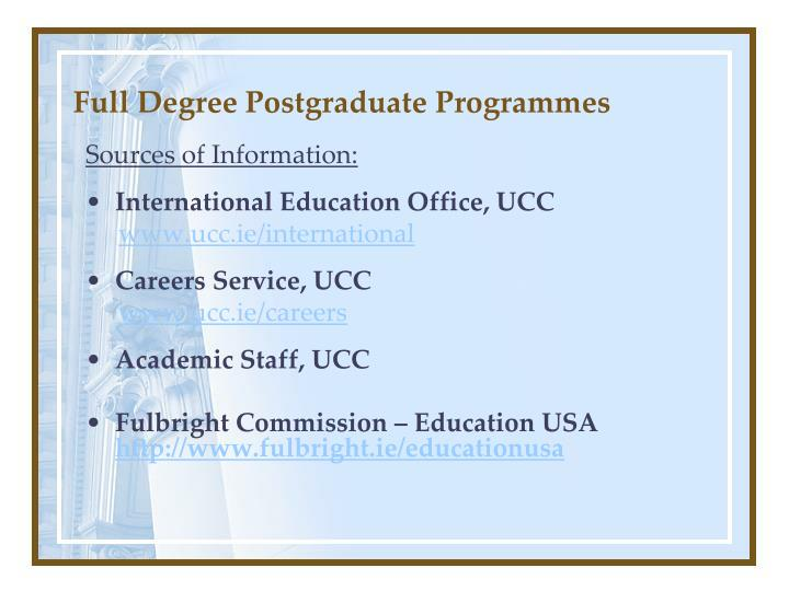 Full degree postgraduate programmes