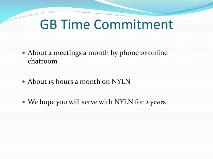 GB Time Commitment